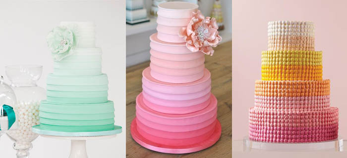 Tartas bodas con colores degradados